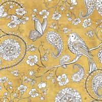 Color my World Bird Paisley I Gold Fine Art Print