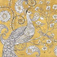 Color my World Ornate Peacock I Gold Fine Art Print
