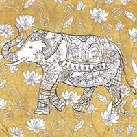 Color my World Elephant II Gold Framed Print