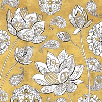 Color My World Lotus I Gold Fine Art Print