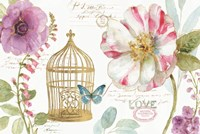 Rainbow Seeds Floral Birdcage I Fine Art Print