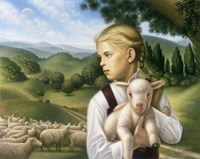 Girl With Lamb Fine Art Print