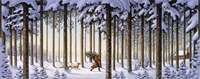 Winter Scene Man With Tree Fine Art Print