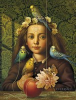Girl With Parakeets Fine Art Print