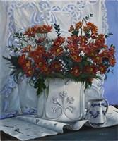 Vaso Bianco con Daliette Amaranto Fine Art Print
