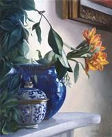 Vaso Blu e Fiore Arancione Fine Art Print