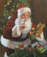 Santa With Teddy Bear Fine Art Print