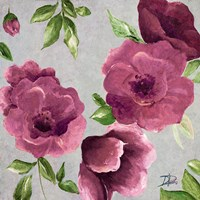 Gray & Plum Florals II Fine Art Print