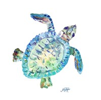 Sea Life In Blues I (turtle) Fine Art Print