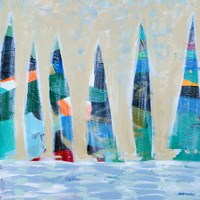 Dozen Colorful Boats Square I Fine Art Print