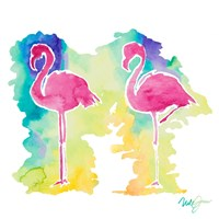Sunset Flamingo Square II Fine Art Print