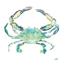 Sea Life in Blues II (crab) Fine Art Print