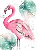 Watercolor Leaf Flamingo I Fine Art Print