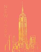 New York on Coral Fine Art Print