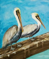 Two Pelicans on Dock Rail Fine Art Print
