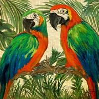 Island Birds Square on Burlap I Fine Art Print