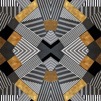 Geo Stripes in Gold & Black I Fine Art Print