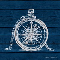 Compass on Blue Wood Fine Art Print