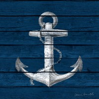 Anchor on Blue Wood Fine Art Print