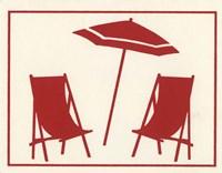Red Umbrella & Chairs Fine Art Print