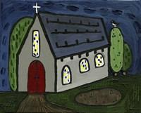 Church with Red Door Fine Art Print