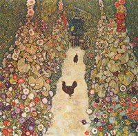 Garden Path with Chickens, 1916 Framed Print