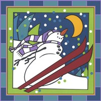 Coalman The Snowman Skiing 1 Fine Art Print