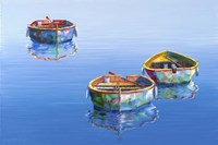 3 Boats Blue 2 Fine Art Print