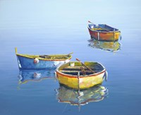 3 Boats Blue 3 Fine Art Print