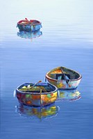 3 Boats Blue Vertical Fine Art Print