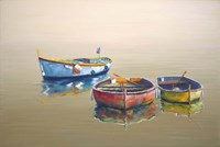 3 Boats Yellow Fine Art Print