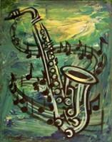 Blues Solo in Green Fine Art Print