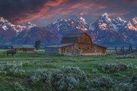 Grand Teton Mormon Barn At Sunrise Fine Art Print