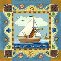 Folk Art Cat Sailing Fine Art Print