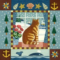 Folk Art Cat Winter Fine Art Print