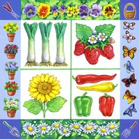 Gardening Veggies + Fruits Square Fine Art Print