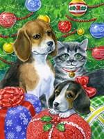 Puppies and Kitten Under the Tree Fine Art Print