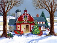 The Red Sleigh Barn Fine Art Print
