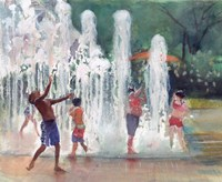Fun in the Fountain Fine Art Print