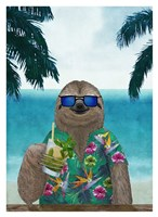 Sloth on Summer Holidays Fine Art Print