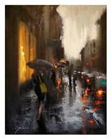Village Cafe in Rain Fine Art Print