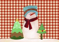 Snowman With Teal Hat With Christmas Trees Fine Art Print