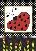 Ladybug Valentine Flag Fine Art Print