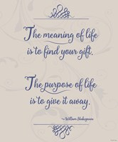 Meaning Of Life Per Shakespeare Fine Art Print