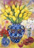 Yellow Tulips In A Blue & Gold Pot Fine Art Print