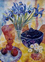 Irises & Dish Of Apples Fine Art Print