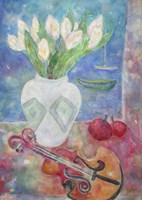 Violin With Flowers Fine Art Print