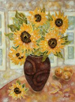 Sunflowers And Satsumas Fine Art Print