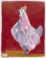 White Hen, Red Background 3 Fine Art Print