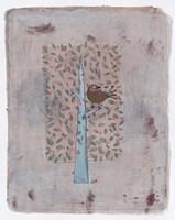 Gold Bird In Square Tree 14 Fine Art Print
